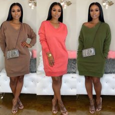 Solid V Neck Long Sleeves Knitted Sweater Dresses NY-057