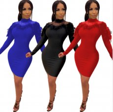 Sexy Feather Mesh Patchwork Full Sleeve Bodycon Dress LUO-6253