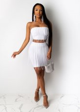 Sexy Tassel Tube Tops Mini Skirt Two Piece Sets CYA-8252