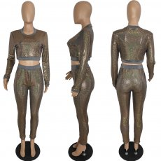 Casual Sequin Long Sleeve Two Piece Outfits PIN-8482