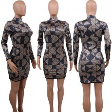 Geometric Print High Collar Long Sleeve Mini Dress CYA-8243