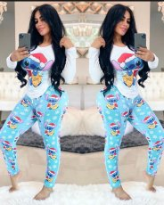 Cartoon Print Long Sleeve Two Piece Pants Set FNN-8352