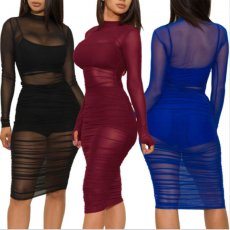 Sexy 3 Piece Sets Mesh Perspective Club Dress+Camis+Shorts MZ-2482