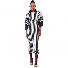 Fashion Stripe Three Quarter Sleeve Maxi Dress KSN-5103