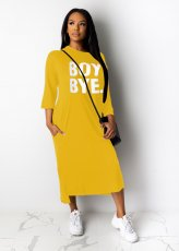 Casual Loose Letter Print Three Quarter Sleeve Maxi Dress TR-1001