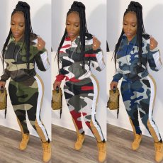 Casual Camo Print Hooded Zipper Two Piece Sets KSN-5111