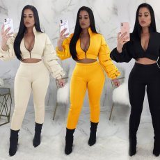 Solid Piles Sleeves Zipper Two Piece Pants Set ORY-5064