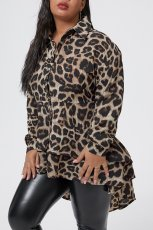 Plus Size 5XL Leopard Irregular Blouse Tops OMY-8012