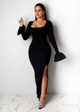 Solid High Split Long Sleeve Slim Fit Maxi Dress SFY-069