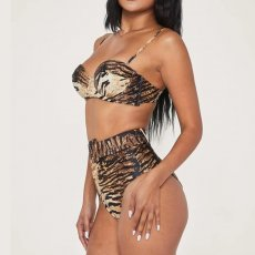 Sexy Tiger Stripe Print High Waist Bikinis Set MJ-2083