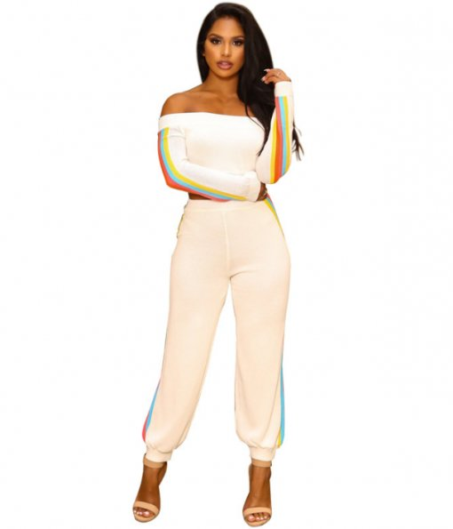 Colorful Stripe Off Shoulder Two Piece Set YIS-901