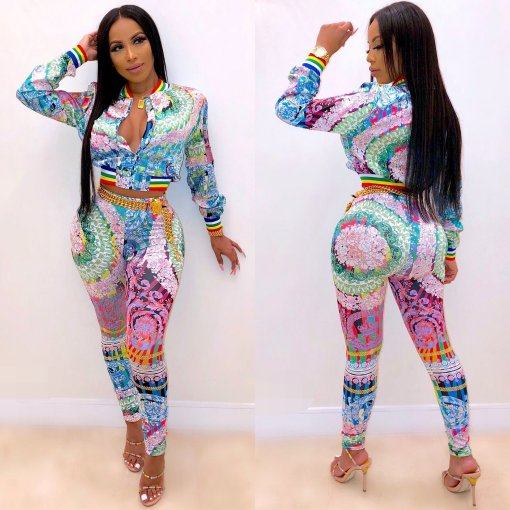 Colored Printed Zipper Jacket And Pants 2 Piece Suit CY-1896