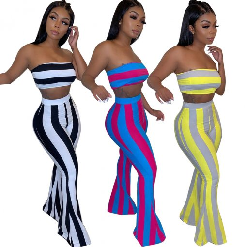 Sexy Stripes Strapless Crop Top And Fare Pants Suit HMS-5253