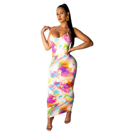 Floral Print Sexy Sleeveless Sling Long Maxi Dresses OMF-5007