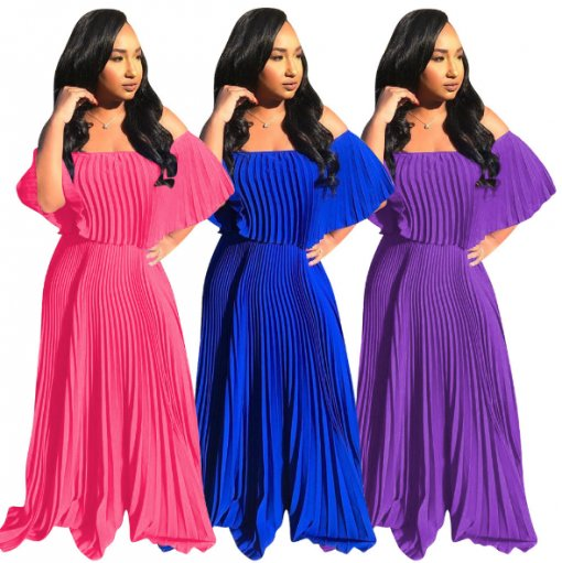Sexy Slash Neck Pleated Long Maxi Dresses WZ-8213