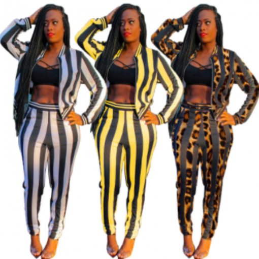 Leopard Striped Print Zipper Tops Pencil Pants Suits MAE-219