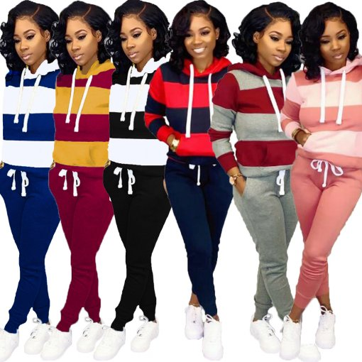 Plus Size Tracksuit Hoodies Long Pants Two Piece Sets OMY-5172-1