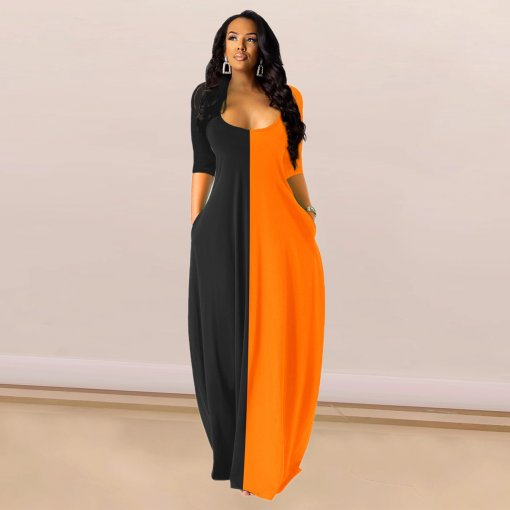 Contrast Color High Waist Half Sleeve Maxi Dresses SHE-7140
