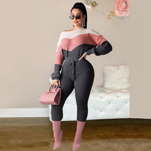 Contrast Color Knitted Sweater Two Piece Pant Sets PN-6295
