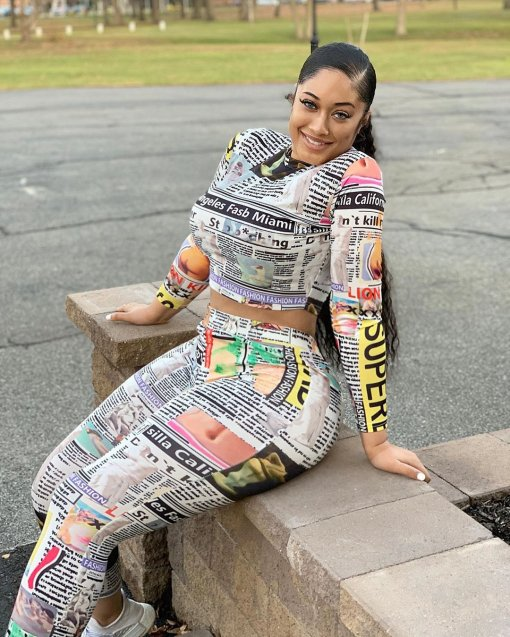 Plus Size Newspaper Print Long Sleeve 2 Piece Set OMR-9651