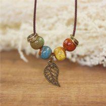 Coin Wood Collar Stone Boho Necklace Pendant
