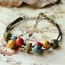 Heart Charm Bracelets Ceramic Beads StarCuff Bangle Wristbands Link Chain Adjustable Fashion Jewelry