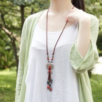 Ethnic Jewelry Ceramic Tibetan Silver Double Craving Equisite Vintage Necklace Long Pendants