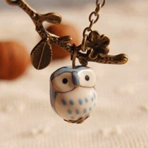 Vintage Bronze Owl on Branch Necklace Pendant Ceramic Jewelry