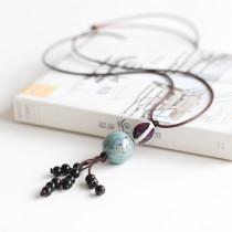 Retro Ceramic Beads Pendant Necklace