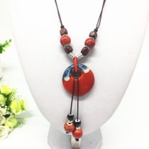 Fashion Ceramics Beads Pendant Ethnic Long Necklace Chain Blue/Red Jewelry