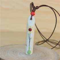 Flower Leaf Painting Whistle Ceramic Necklace Pandent