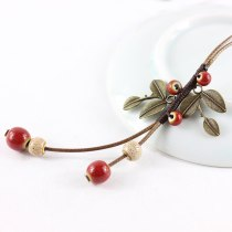Vintage Handmade Ceramic Ancient Bronze Beads Leaves Pendant Sweater Necklace Ethnic Velvet Rope