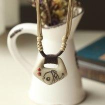 DIY Fish Tablet Ceramic Necklace Pendants