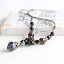 Ceramic Beads Long Pendants Craving Necklace Retro Accessory Jewelry