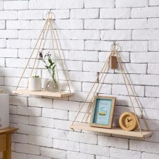 Household Wall Hanging Shelf, Room Organizer with Dangling Hook, Wooden Storage Rack, Decorative Wall Holder for Flower Pot