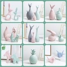 Nordic Tabletop Ceramic Ornaments Macarons Home Decor Porcelain Deer/Cat/Rabbit/Horse/Pineapple/Fox Miniatures