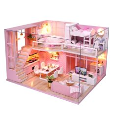 Doll House Wooden Miniature Kit with Music Led Toys for Children Birthday Gift