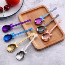 1Pcs Stainless Steel Cartoon Guitar Spoon Creative Milk Coffee Spoon Ice Cream Candy Teaspoon Dessert Cake Spoon
