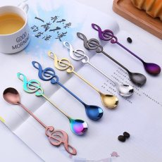 1PCS Stainless Steel Spoon Coffee Note Shape Music Theme Tea Stirring Spoon Small Ice Cream Dessert Scoop