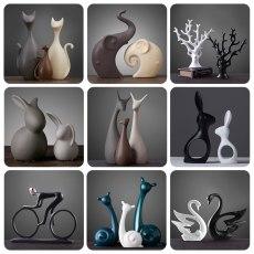 Nordic Desktop Ceramic Ornaments, Elephant Cat Deer Rabbit Snail Tree Shape Decoration Crafts