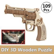Wooden Revolver Kids 3D DIY Children's Toy Manual Pistol Fun Outdoor Game Shooter Toy Safe for Children