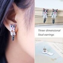 Cartoon Cat Dog Panda Fox Earrings Stereo Animals Cute Earrings