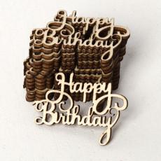15PCS  Happy Birthday Laser Cut Wooden Slice Handcraft Letter