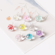 Natural Dried Flower with Glass Bead Jewelry Components  DIY Material
