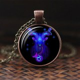 12 Constellations Zodiac Sign  Glass Cabochon Pendant Necklace