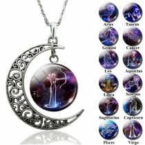 12 Constellation Necklace Zodiac Signs Cabochon Glass Crescent Moon Necklace