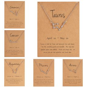 Shiny Crystal Star Zodiac Sign 12 Constellation Pendent Necklaces