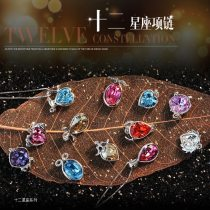 12 Constellations Necklace 12 Zodiac Signs Austrian Crystal Pendant Necklace
