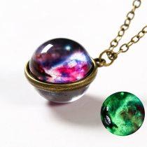 Galaxy Pendant Necklace Luminous Universe Pendant Double Sided Planet Glass