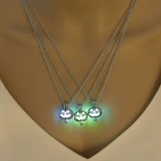 Halloween Hollow  Pumpkin Lantern Shape Luminous Sliver Glowing Necklace